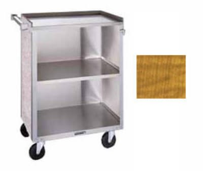 "Lakeside 610 27.75""L Metal Bus Cart w/ (3) Levels, Shelves, Maple"