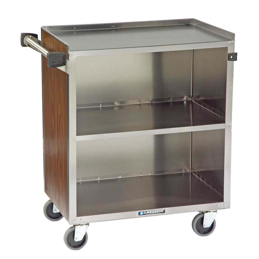 "Lakeside 622 30.75""L Metal Bus Cart w/ (3) Levels, Shelves, Stainless"