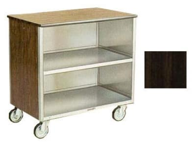 "Lakeside 646 WAL 36""L Metal Bus Cart w/ (3) Levels, Shelves, Walnut"