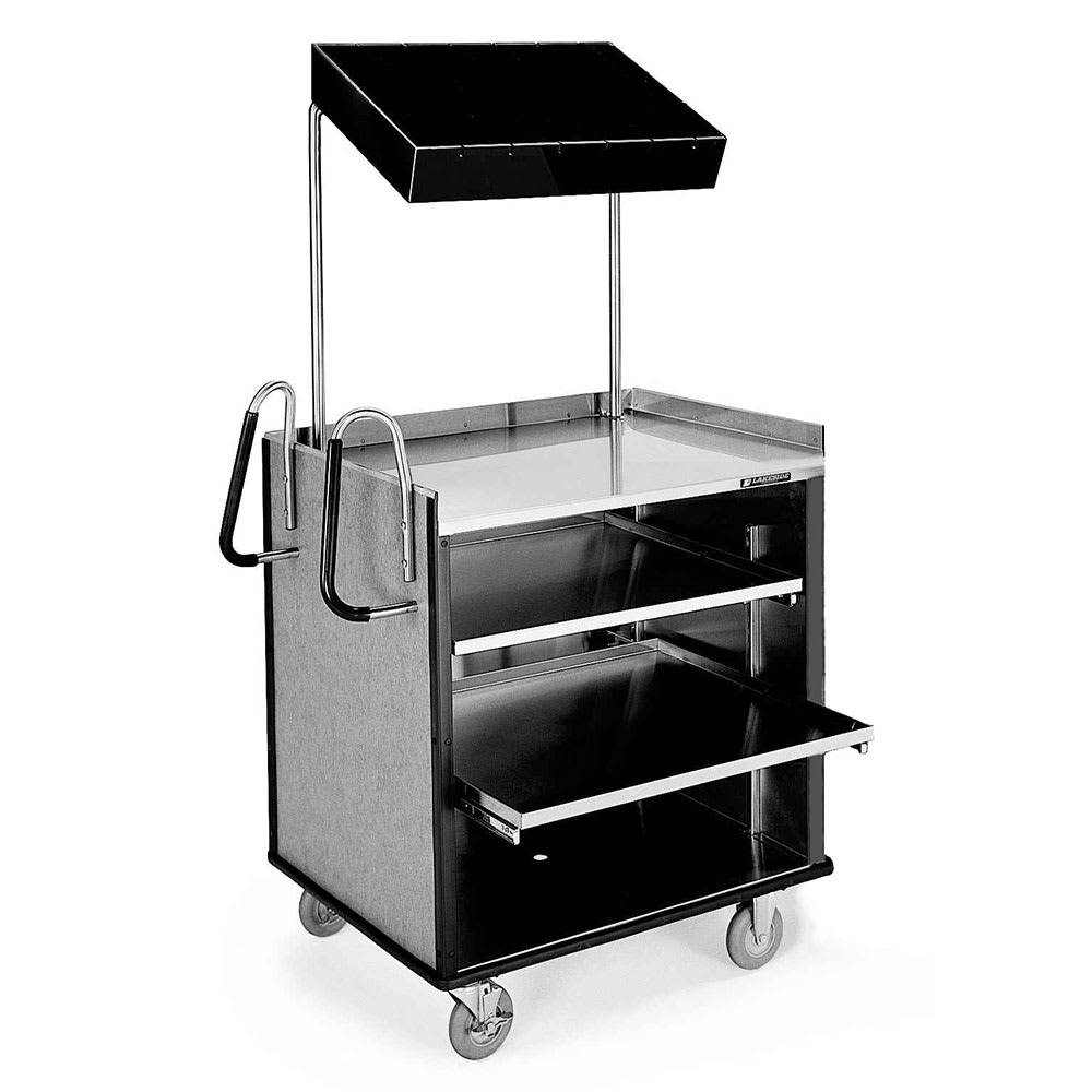 "Lakeside 660 Food Cart w/ Overshelf, 49""L x 28.25""W x 72.15""H, Black"