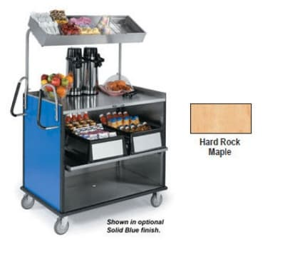 "Lakeside 660 Food Cart w/ Overshelf, 49""L x 28.25""W x 72.15""H, Hard Rock Maple"