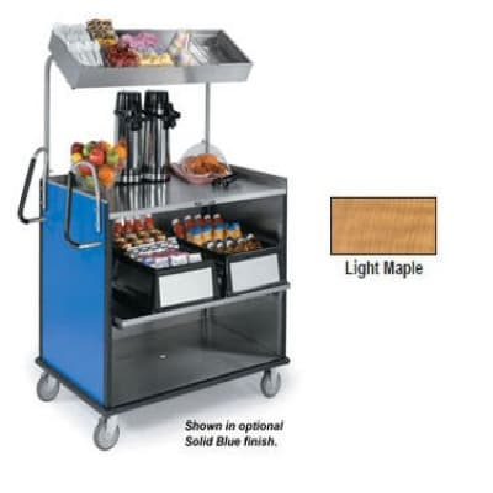 "Lakeside 660 Food Cart w/ Overshelf, 49""L x 28.25""W x 72.15""H, Light Maple"