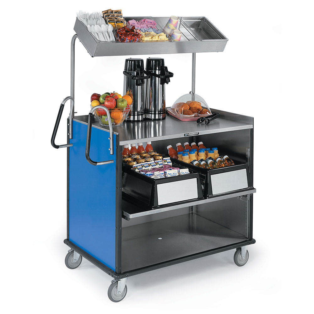 "Lakeside 660 Food Cart w/ Overshelf, 49""L x 28.25""W x 72.15""H, Royal Blue"