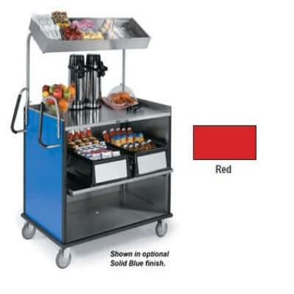 "Lakeside 660 Food Cart w/ Overshelf, 49""L x 28.25""W x 72.15""H, Red"
