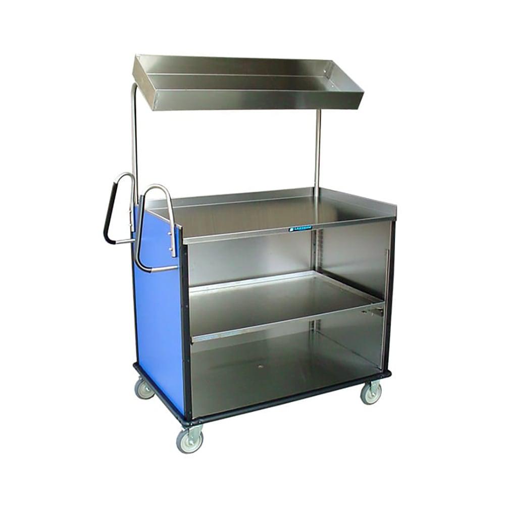 "Lakeside 660 Food Cart w/ Overshelf, 49""L x 28.25""W x 72.15""H, Victorian Cherry"