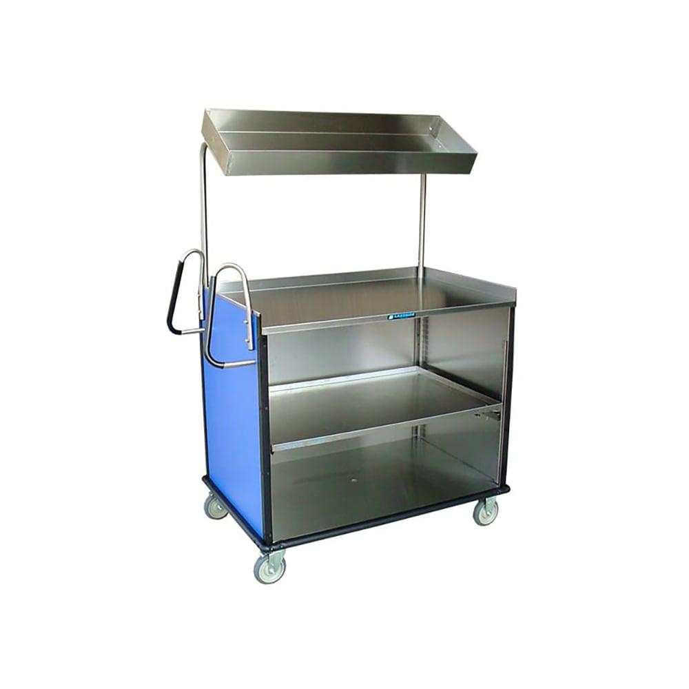"Lakeside 660 Food Cart w/ Overshelf, 49""L x 28.25""W x 72.15""H, Walnut"
