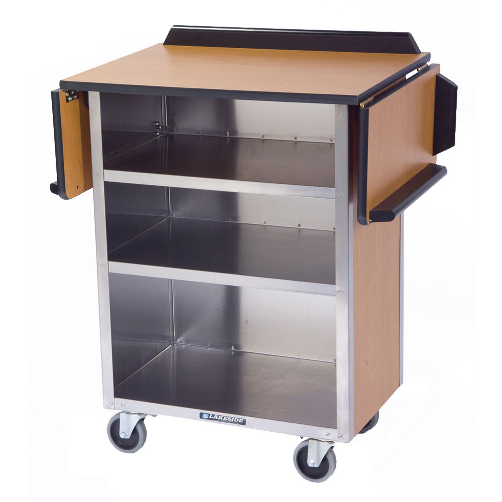 "Lakeside 672 33.13"" Stainless Beverage Service Cart, 21""D x 38.31""H, Wood"