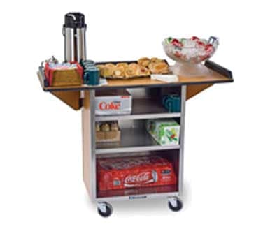 "Lakeside 672 WAL 33.13"" Stainless Beverage Service Cart, 21""D x 38.31""H, Wood"
