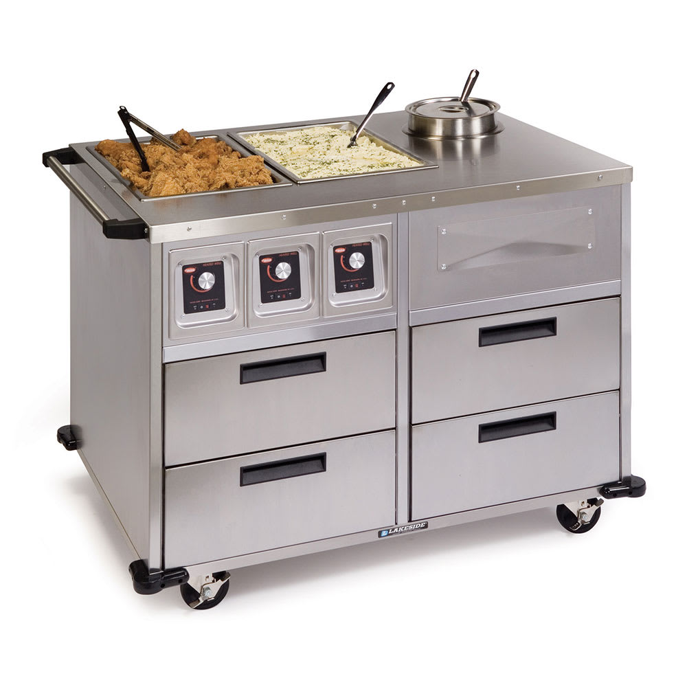 "Lakeside 6745 46"" Mobile Food Station w/ 2 Dry Heat & 1 Soup Wells, 220 V"