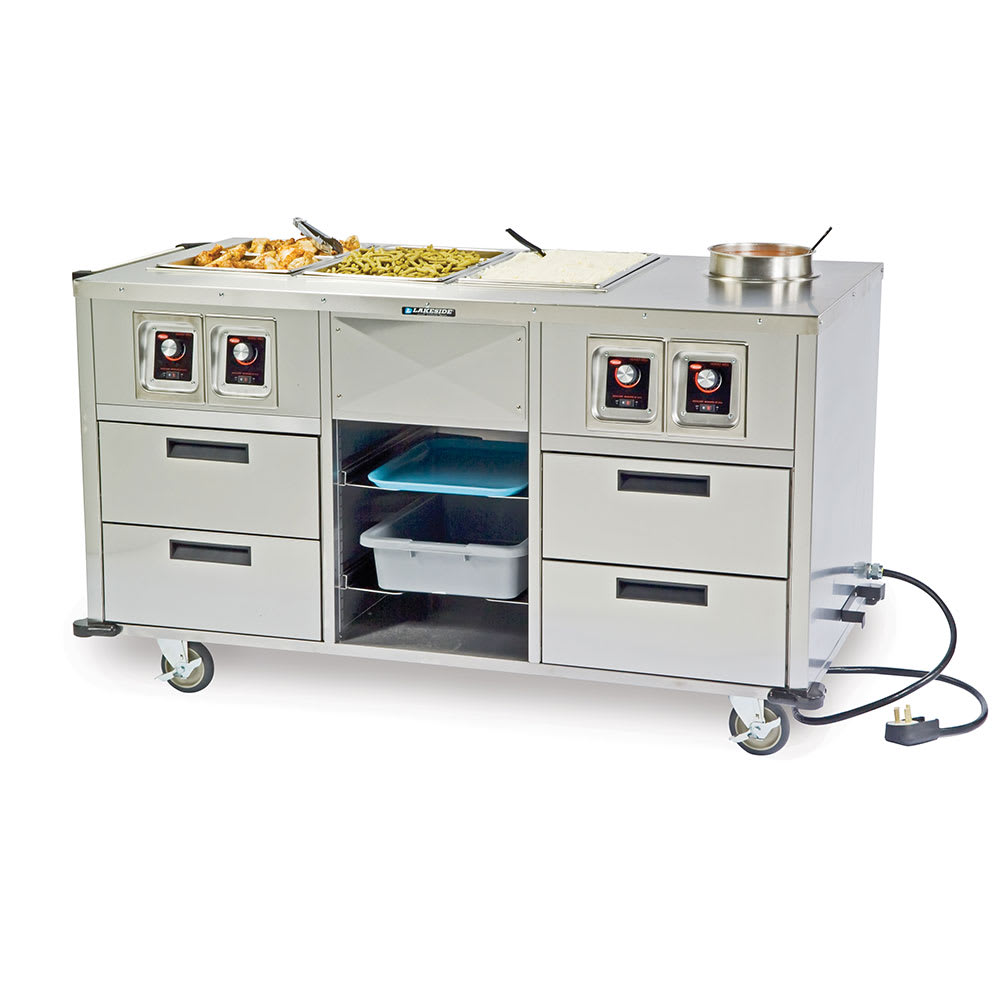 Lakeside 6750 Serve All Mobile Food Station w/ 3-Hot Wells & Soup Well, 220 V