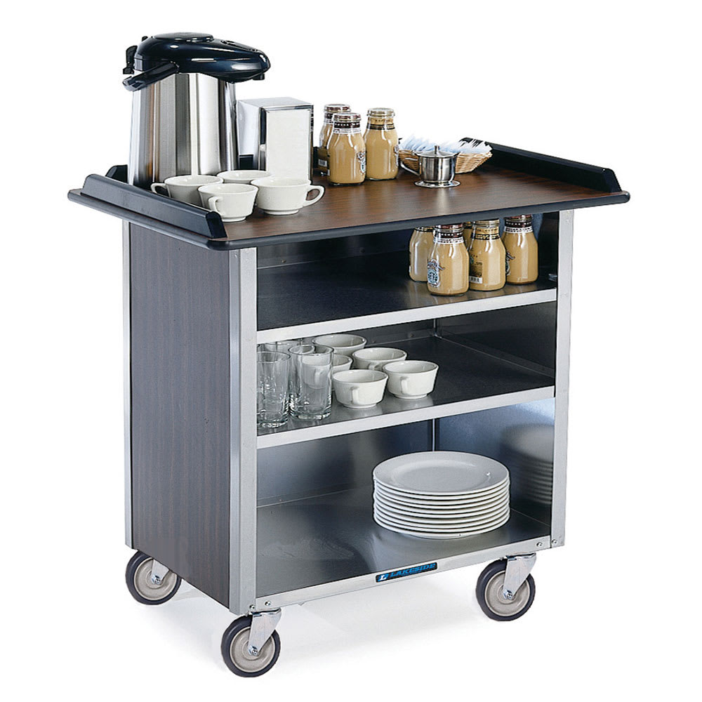 "Lakeside 678 40.75"" Stainless Beverage Service Cart, 24""D x 38.31""H"