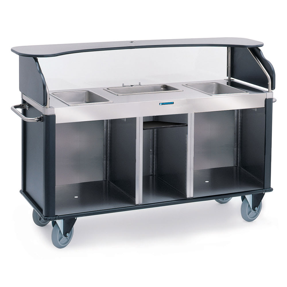 "Lakeside 682-10 BLK Kiosk-Type Food Cart w/ Enclosed Cabinet, 77.25""L x 28.25""W x 52.5""H, Black"