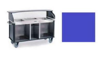 "Lakeside 682-10 RBLU Kiosk-Type Food Cart w/ Enclosed Cabinet, 77.25""L x 28.25""W x 52.5""H, Royal Blue"