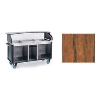 "Lakeside 682-10 VCHER Kiosk-Type Food Cart w/ Enclosed Cabinet, 77.25""L x 28.25""W x 52.5""H, Victorian Cherry"