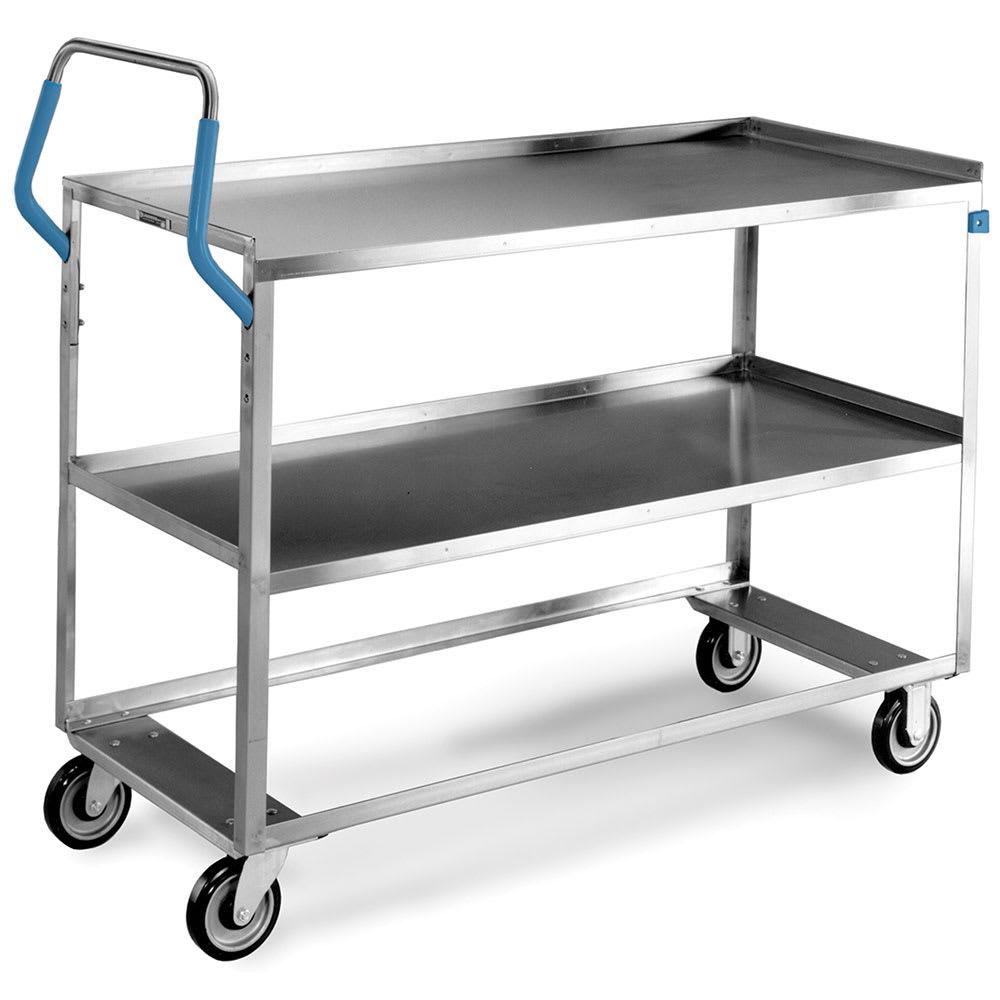 Lakeside 6830 2 Level Stainless Utility Cart w/ 500 lb Capacity, Raised Ledges