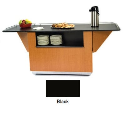 "Lakeside 6855 BLK 99"" Breakout Dining Station w/ Drop Leaf & 2 Compartment, Black"
