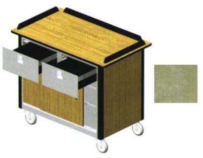 "Lakeside 690-40 BEGSU Food Cart w/ Drawers, 44.5""L x 24.5""W x 37.75""H, Beige"
