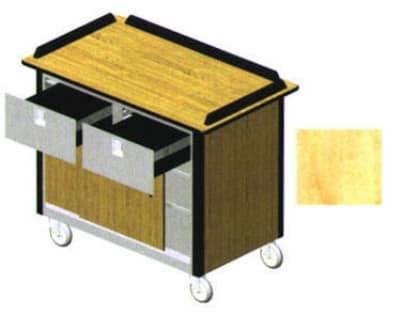 "Lakeside 690-40 HRMAP Food Cart w/ Drawers, 44.5""L x 24.5""W x 37.75""H, Hard Rock Maple"