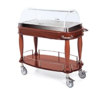 Lakeside 70126 Oval Wood Veneer Entree Cart w/ Acrylic Roll Top Dome