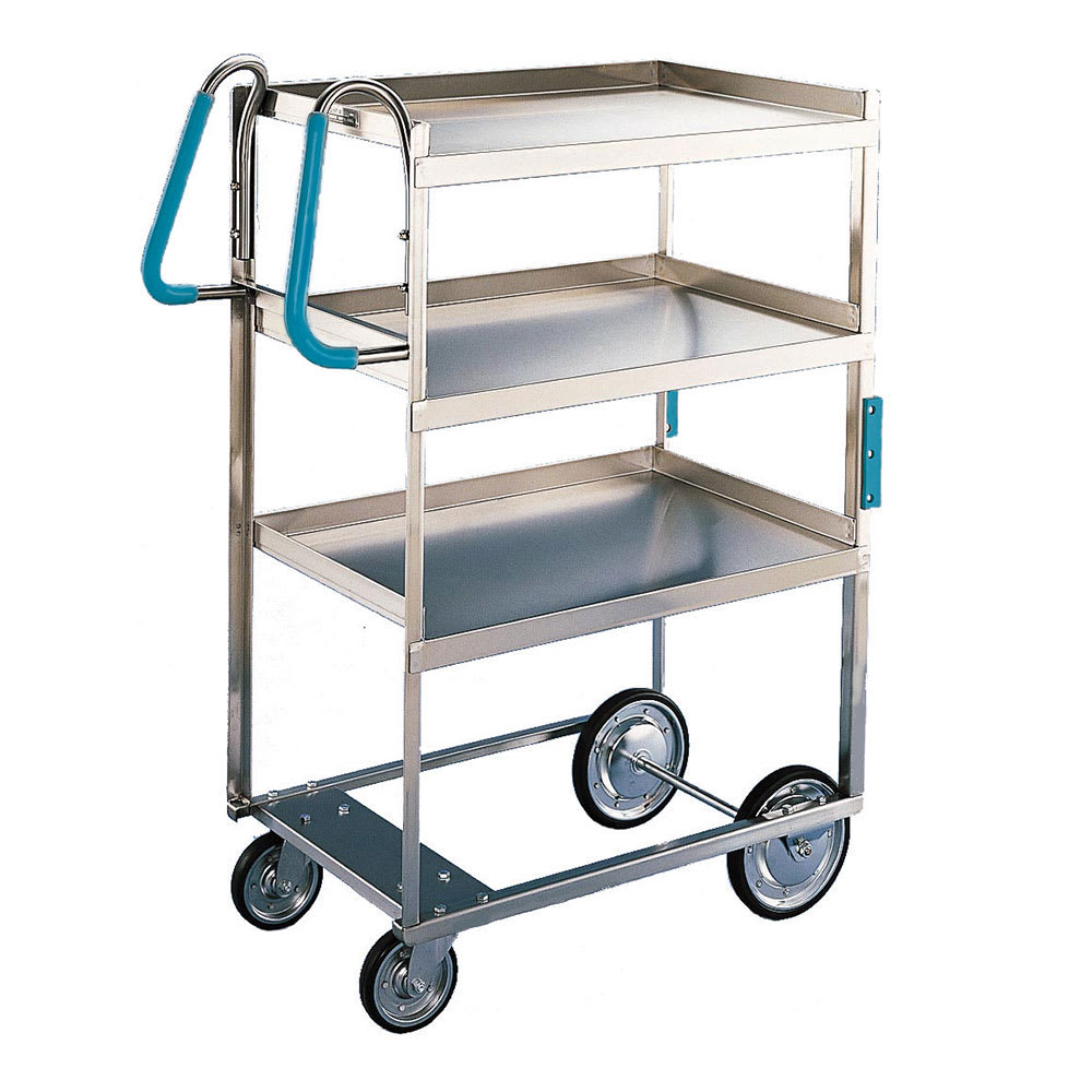 Lakeside 7015 3 Level Stainless Utility Cart w/ 700 lb Capacity, Raised Ledges