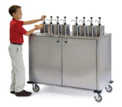 "Lakeside 70201 Pump Style Condiment Cart w/ (8) Dispensers, 48.5""H"