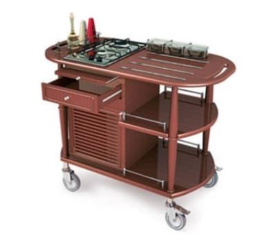 Lakeside 70362 Wood Veneer Flambe Cart w/ 2-Burner Propane Cooktop, 43-3/8-in