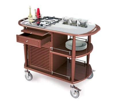 Lakeside 70365 Wood Veneer Flambe Cart w/ Stainless Work Top, 43-3/8-in