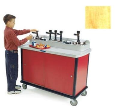 Lakeside 706-10 HRMAP Pump Style Condiment Cart w/ (5) Pumps & (2) Cup Dispensers, Hard Rock Maple