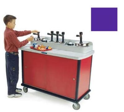 Lakeside 706-10 PUR Pump Style Condiment Cart w/ (5) Pumps & (2) Cup Dispensers, Purple