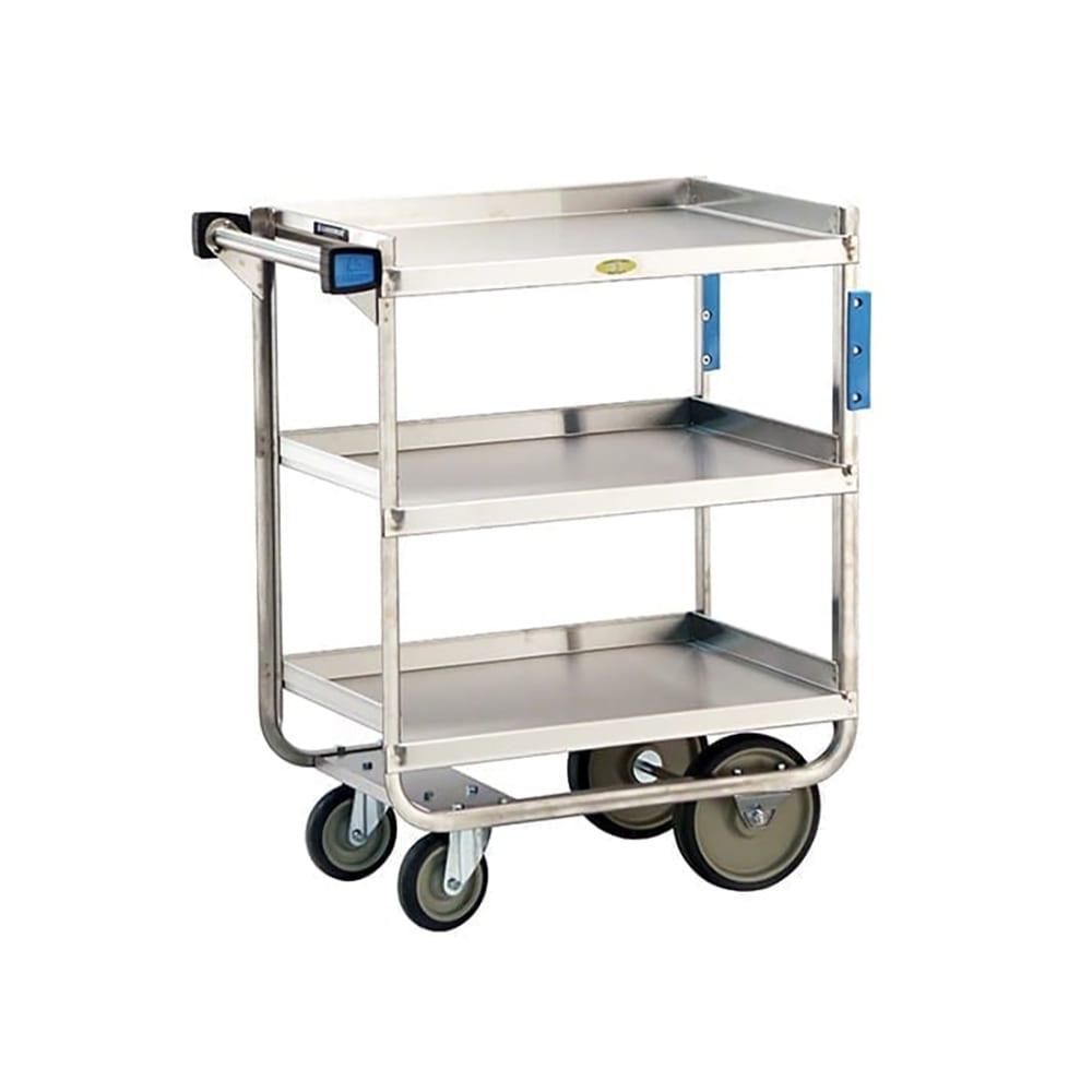 Lakeside 711 3-Level Stainless Utility Cart w/ 700-lb Capacity, Raised Ledges