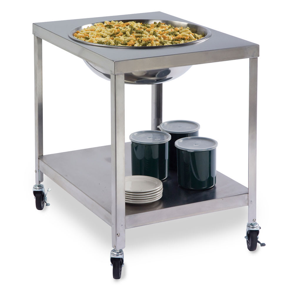 "Lakeside 712 Mobile Bowl Stand w/ 29 5/8"" Top Cutout & Undershelf, Stainless"