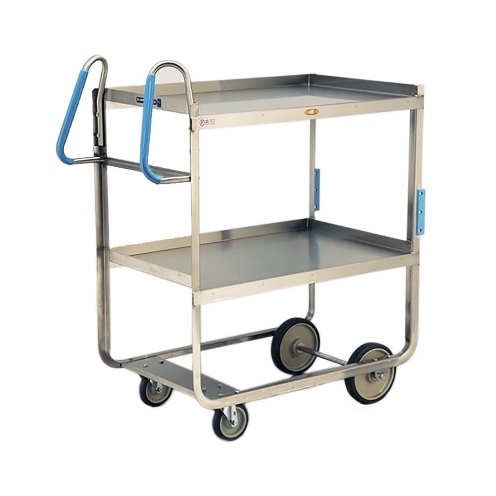 Lakeside 7120 2 Level Stainless Utility Cart w/ 1000 lb Capacity, Raised Ledges