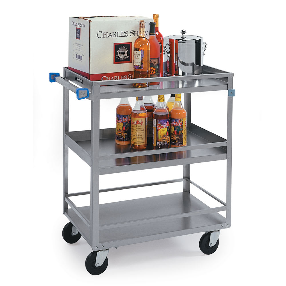 Lakeside 730 3 Level Stainless Utility Cart w/ 700 lb Capacity, Raised Ledges