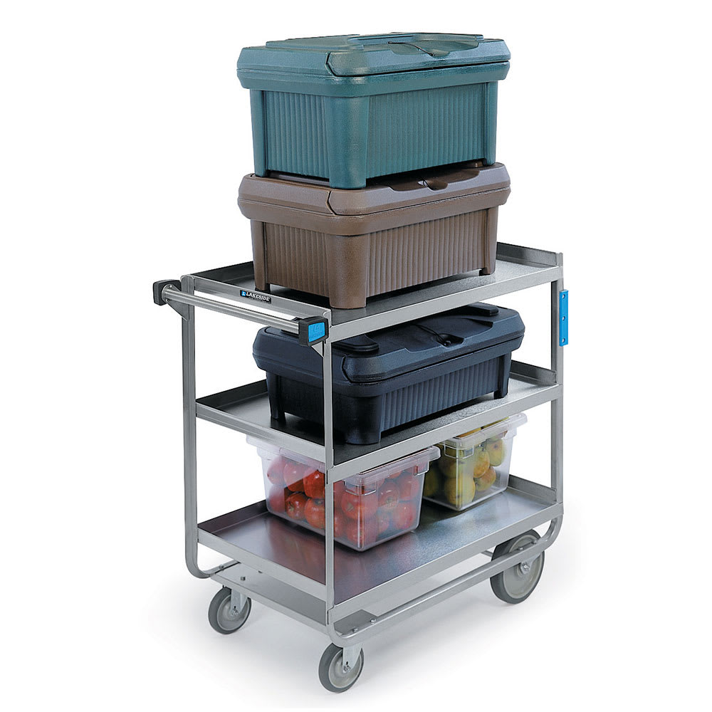Lakeside 744 3 Level Stainless Utility Cart w/ 700 lb Capacity, Raised Ledges