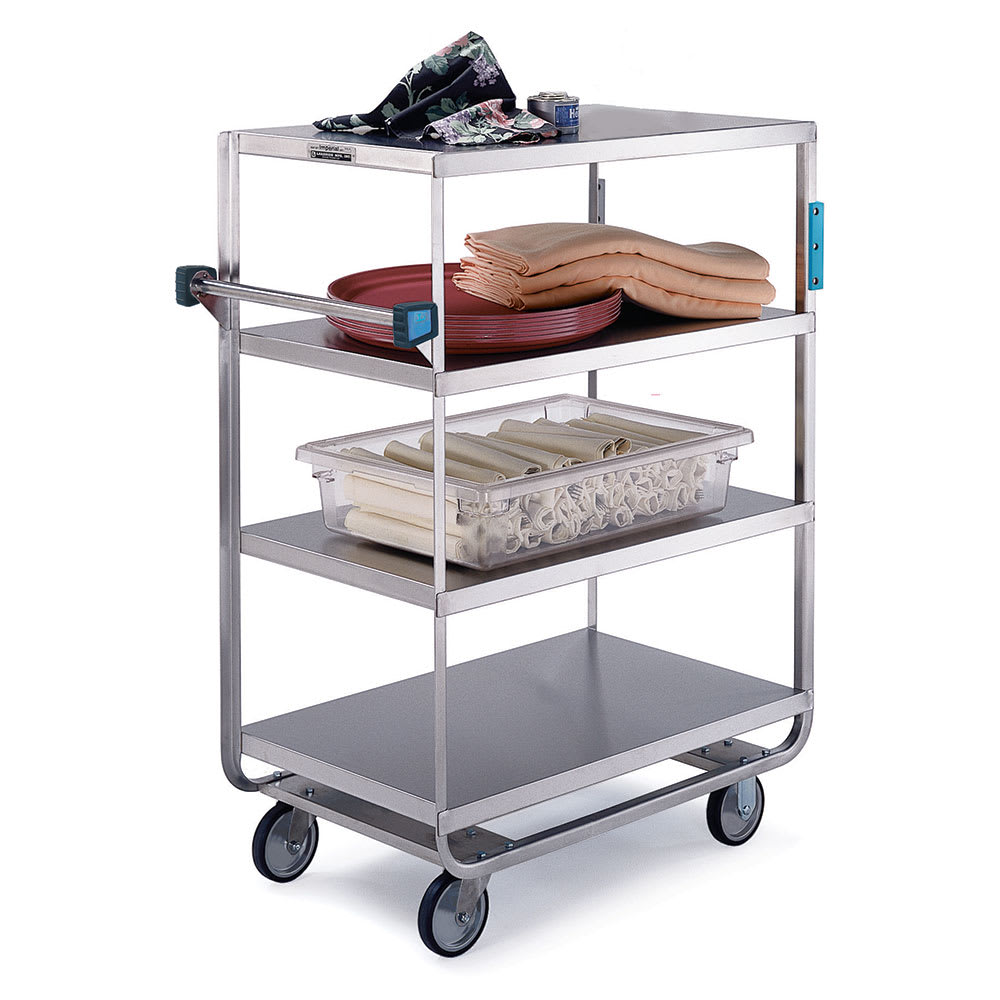 Lakeside 745 4-Level Stainless Utility Cart w/ 700-lb Capacity, Flat Ledges