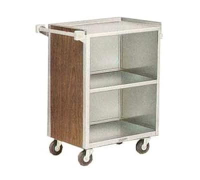 "Lakeside 810 WAL 28.25""L Metal Bus Cart w/ (3) Levels, Shelves, Walnut"