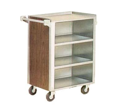 "Lakeside 815 WAL 28.25""L Metal Bus Cart w/ (4) Levels, Shelves, Walnut"