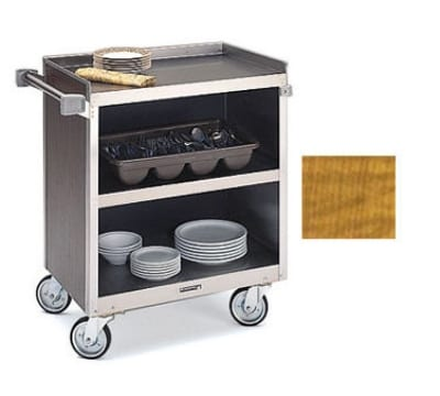 "Lakeside 822 LMAP 31.25""L Metal Bus Cart w/ (3) Levels, Shelves, Maple"