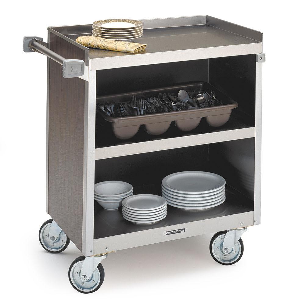 "Lakeside 822 WAL 31.25""L Metal Bus Cart w/ (3) Levels, Shelves, Walnut"