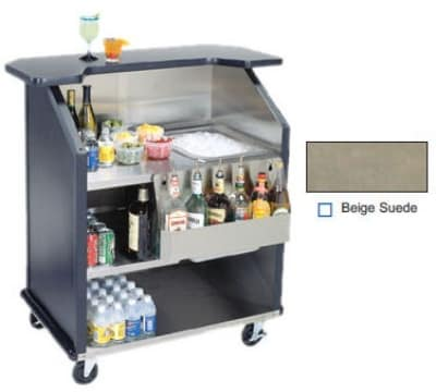 "Lakeside 884 BEGSU 43"" Portable Bar w/ 40-lb Ice Bin & Speed Rail, Beige Suede"
