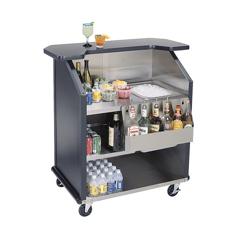 "Lakeside 884 GRSAN 43"" Portable Bar w/ 40 lb Ice Bin & Drain, Speed Rail, Gray Sand"