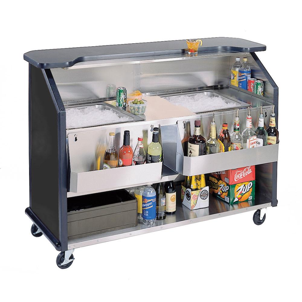 "Lakeside 886 63.5"" Portable Bar w/ (2) 40 lb Ice Bin, Speed Rail, Black"