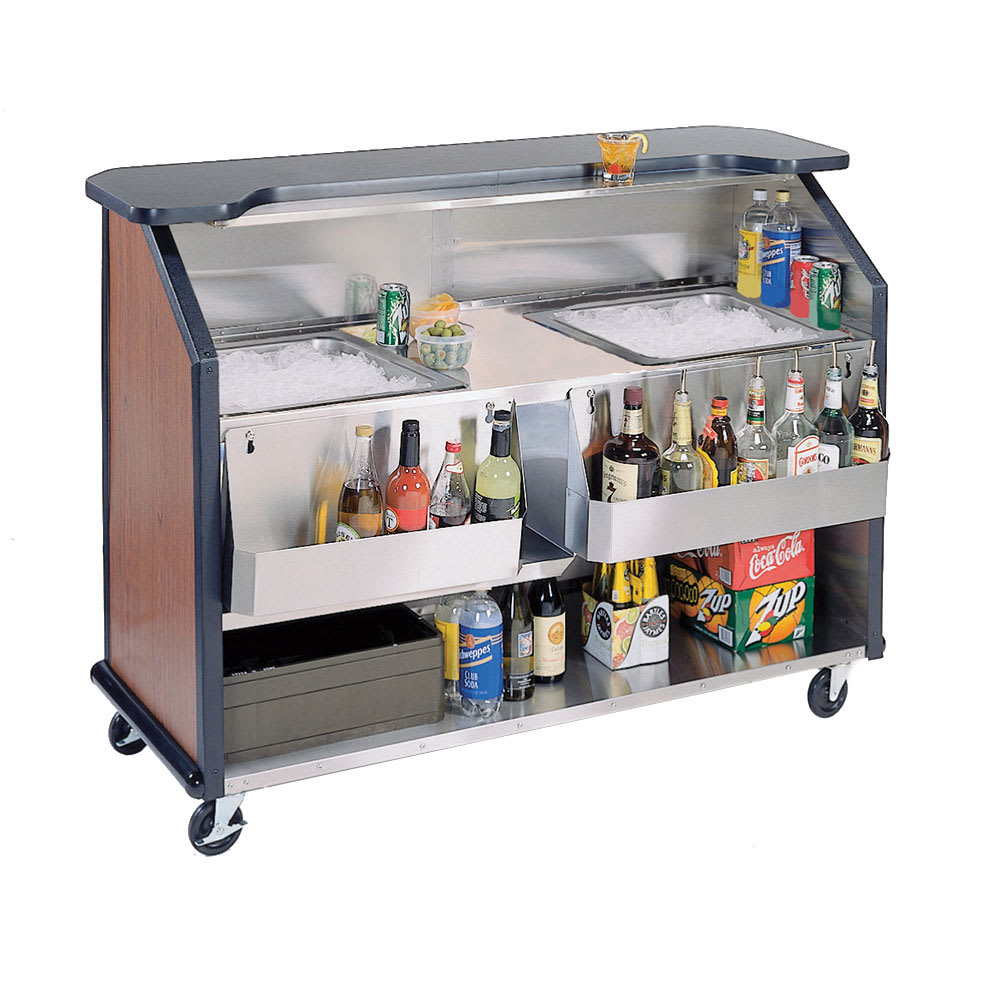 "Lakeside 886 63.5"" Portable Bar w/ (2) 40-lb Ice Bin, Speed Rail, Red Maple"