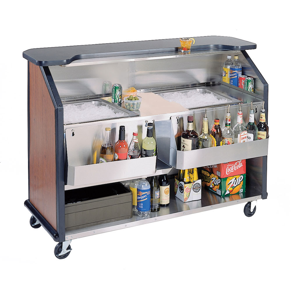 "Lakeside 886 63.5"" Portable Bar w/ (2) 40 lb Ice Bin, Speed Rail, Victorian  Cherry"