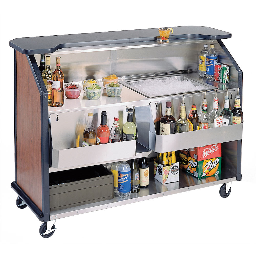 "Lakeside 887 63.5"" Portable Bar w/ 40-lb Ice Bin & Drain, (2) 7-Bottle Speed Rails"