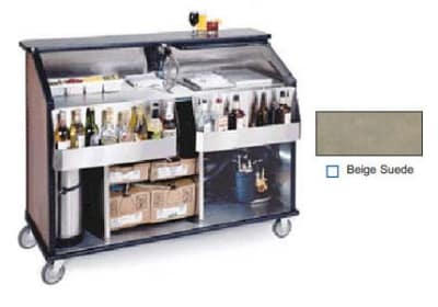 "Lakeside 889 BEGSU 63.5"" Portable Bar w/ 70-lb Ice Bin, Speed Rail, Beige Suede"