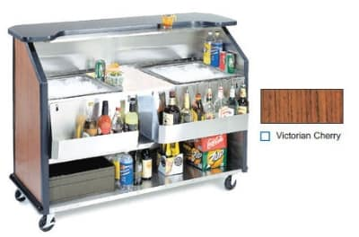 "Lakeside 889 VCHER 63.5"" Portable Bar w/ 70-lb Ice Bin, Speed Rail, Victorian  Cherry"
