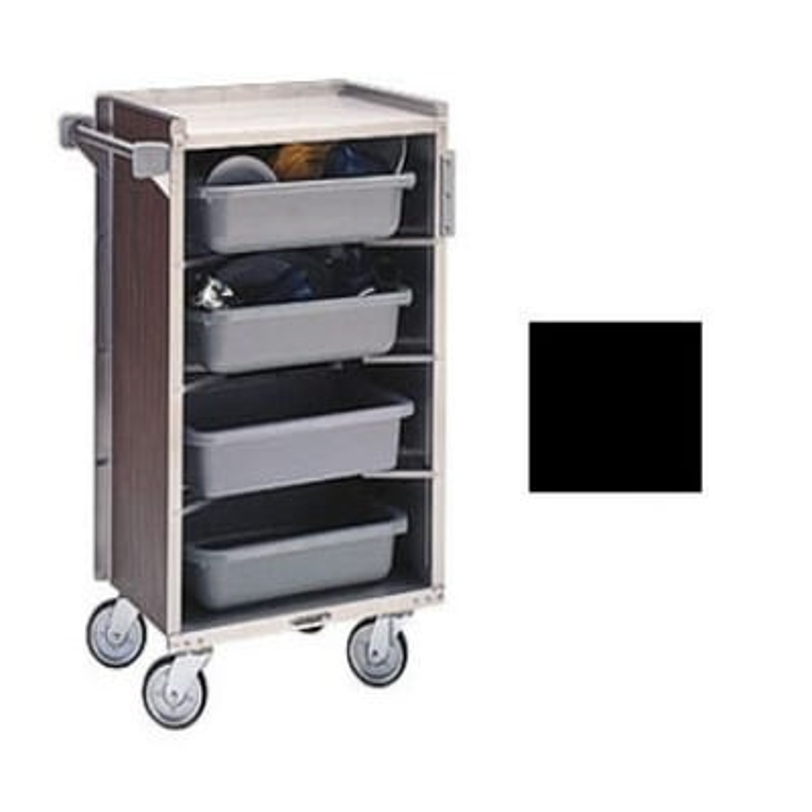 "Lakeside 890 BLK 27.75""L Metal Bus Cart w/ (4) Levels, Shelves, Black"
