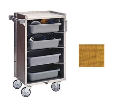 "Lakeside 890 LMAP 27.75""L Metal Bus Cart w/ (4) Levels, Shelves, Maple"