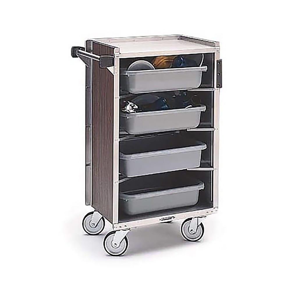 "Lakeside 890 WAL 27.75""L Metal Bus Cart w/ (4) Levels, Shelves, Walnut"